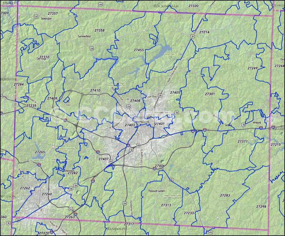 Greensboro Nc Zip Code Map Guilford County Nc Zip Codes