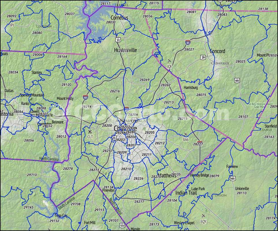 Charlotte, NC Zip Codes - Mecklenburg County, NC Zip Code Map