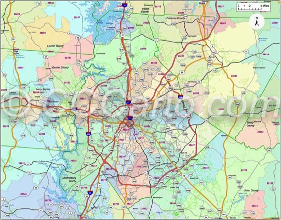 Charlotte Nc Zip Code Boundary Map, Charlotte Nc Zip Code Map, Charlotte Nc Zip Code Boundary Map