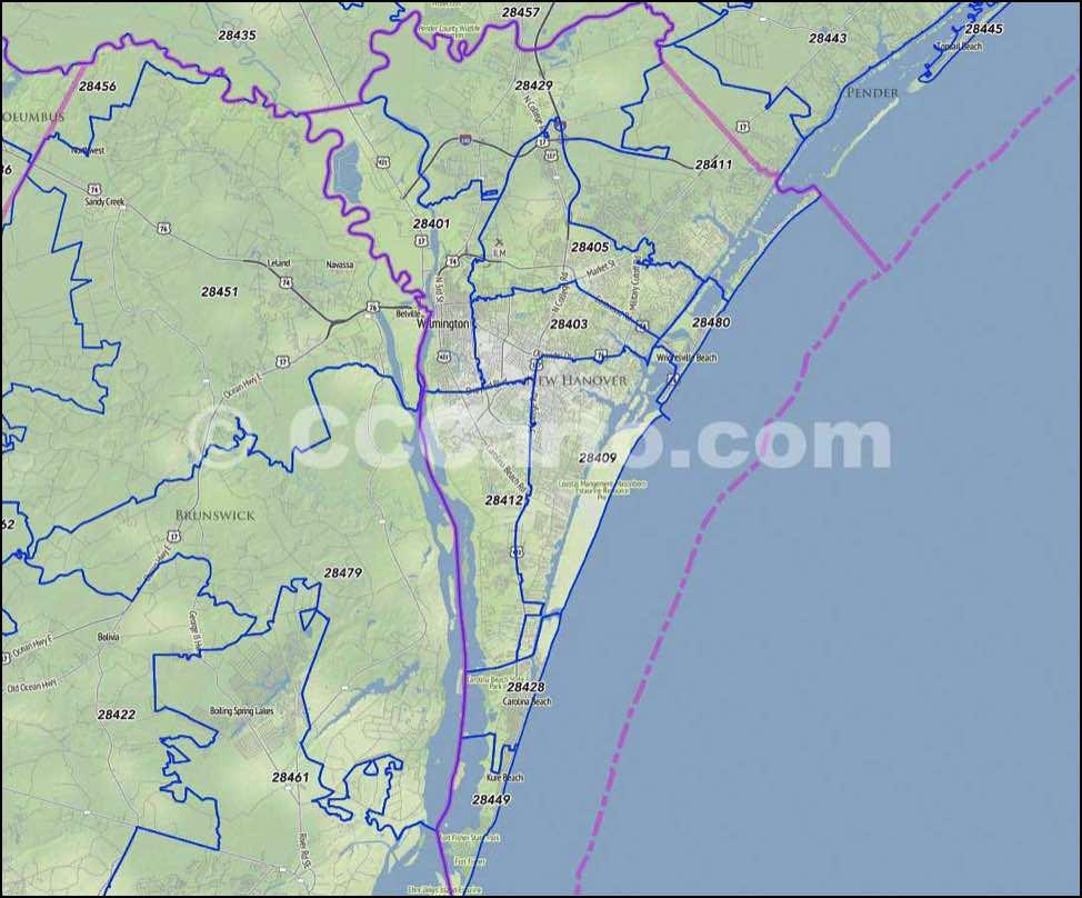 Wilmington NC Zip Code Map Hanover County NC Zip Codes - Us census zip code lookup
