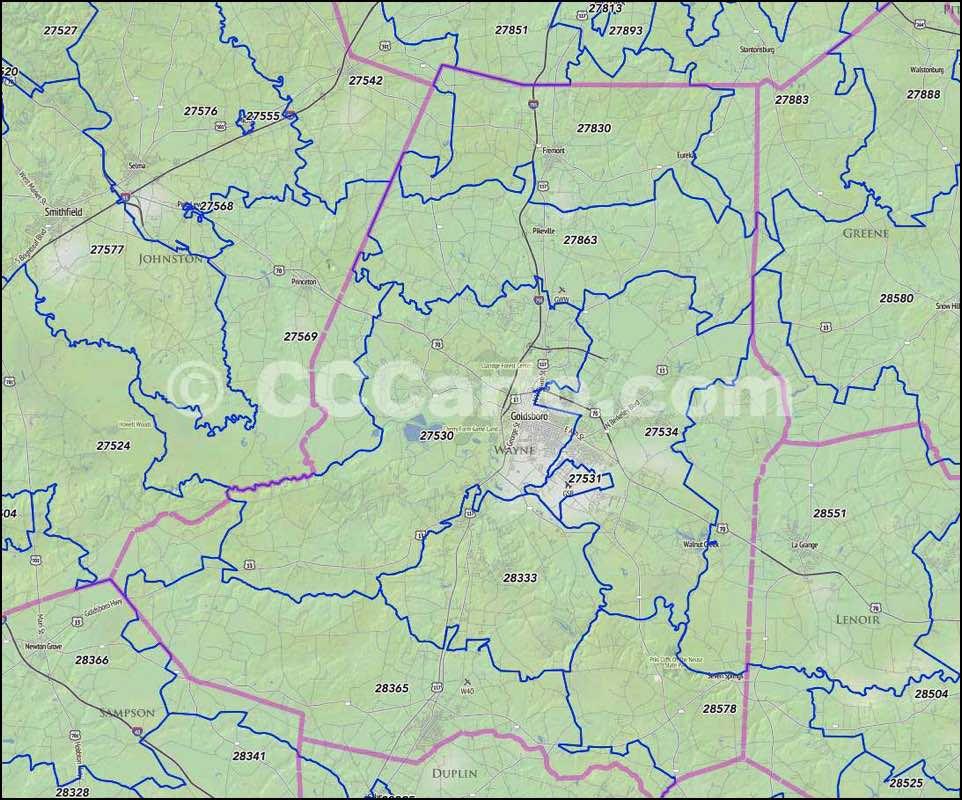 Goldsboro Nc Zip Codes Wayne County Nc Zip Code Map