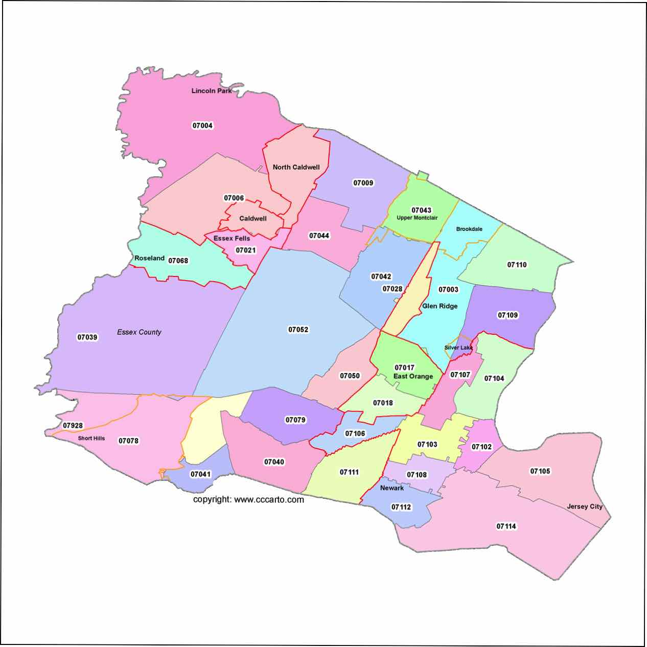 Newark Zip Code Boundary Map