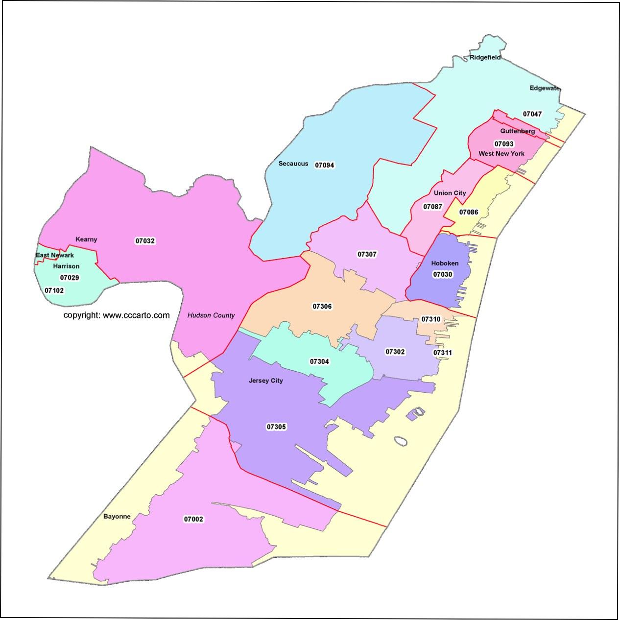 Hudson County Nj Zip Code Boundary Map