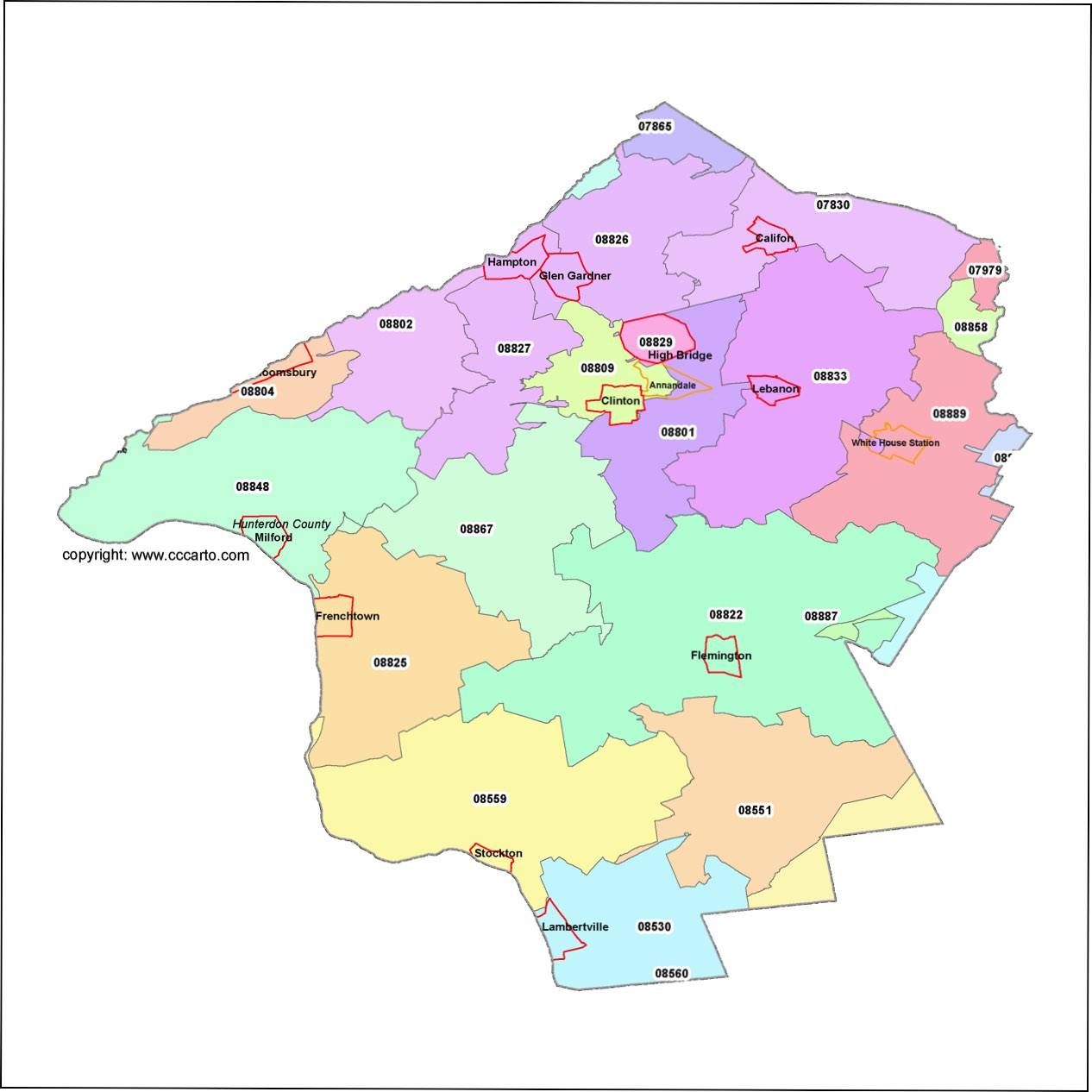 Hunterdon County, New Jersey Zip Code Map