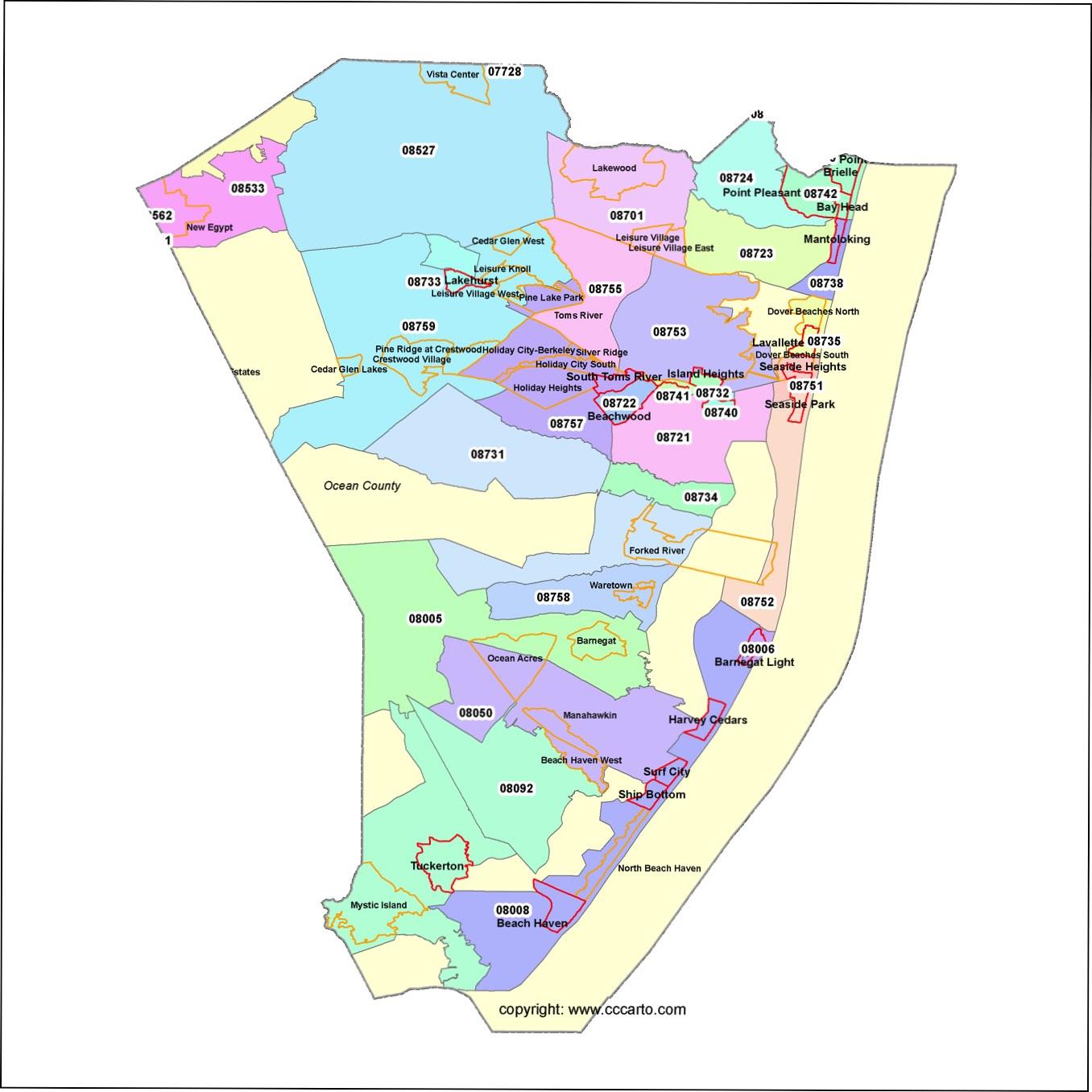 Ocean County Nj Zip Code Boundary Map