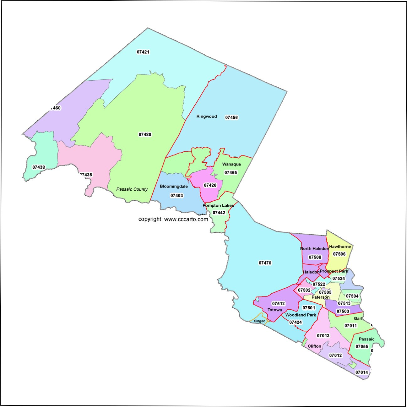 Passaic County, New Jersey Zip Code Map - Patterson