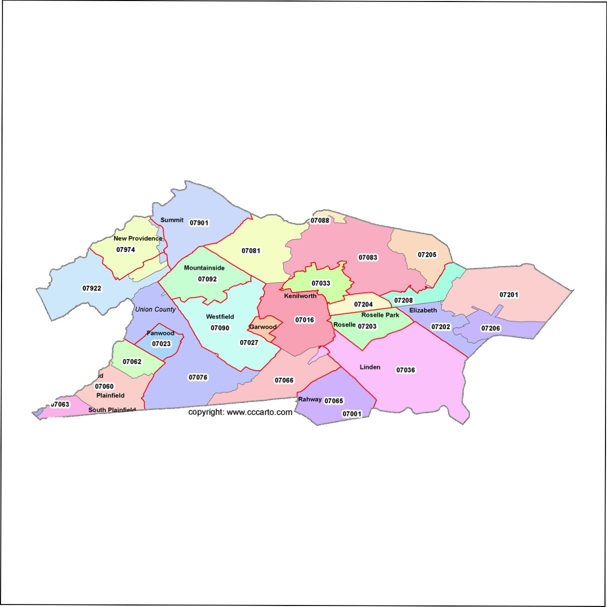 Zip Code New Jersey Map.Union County New Jersey Zip Code Map Elizabeth