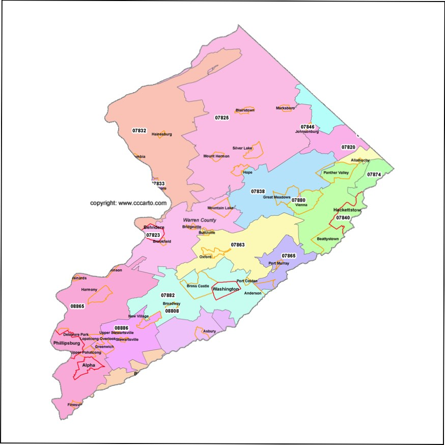 warren county nj zip codes phillipsburg zip code boundary map