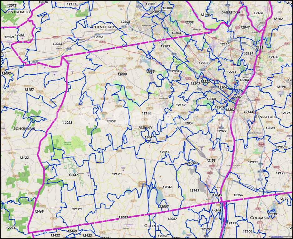 Albany, NY Zip Code Map - Albany County Zip Codes