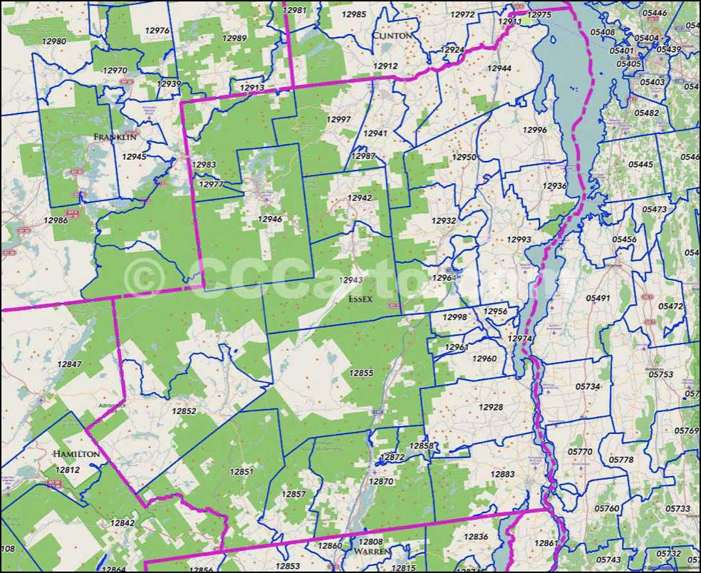 Lake Placid New York Map.Essex County Ny Zip Codes Lake Placid Zip Code Map