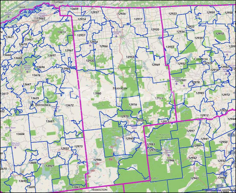 Counties New York Map.Franklin County Ny Zip Codes Malone Zip Code Map