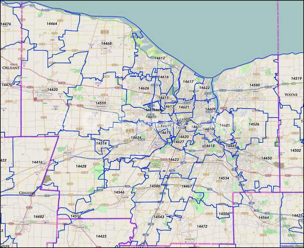 Rochester, NY Zip Code Map   Monroe County, NY Zip Codes