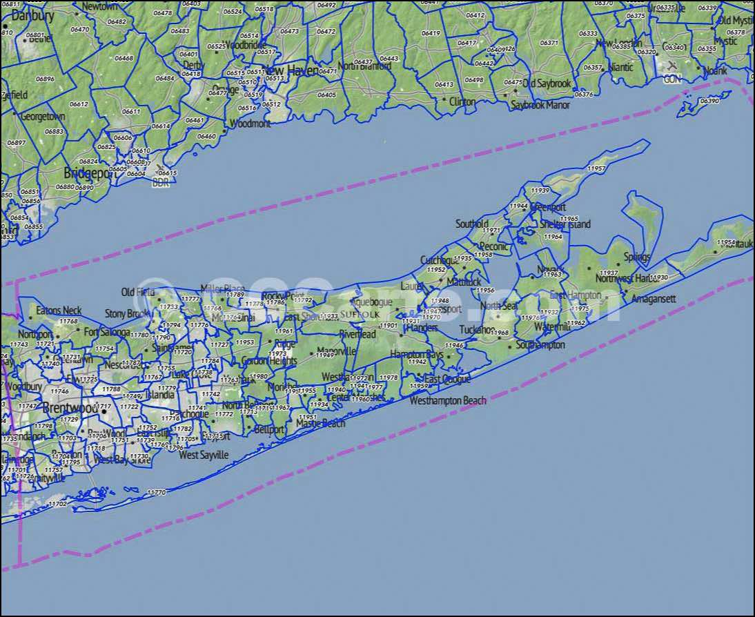 Suffolk County New York Map.Suffolk County Ny Zip Codes Southampton Zip Codes