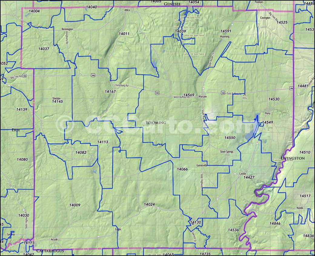 Wyoming County NY Zip Codes Perry NY Zip Codes - Wyoming county map