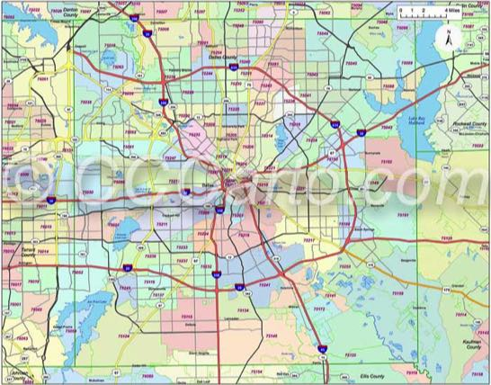Dallas Texas Zip Code Maps (Red Line Style)