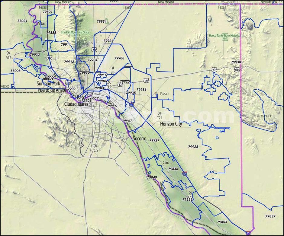 79915 Zip Code Map.El Paso Texas Zip Codes El Paso County Zip Code Boundary Map