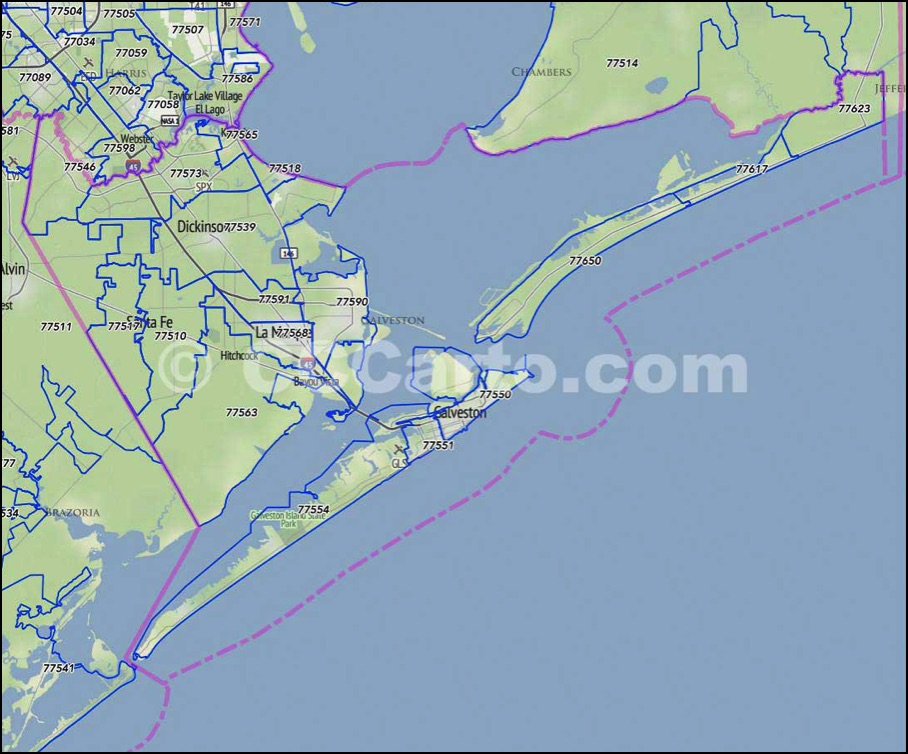 Galveston Texas Zip Code Map