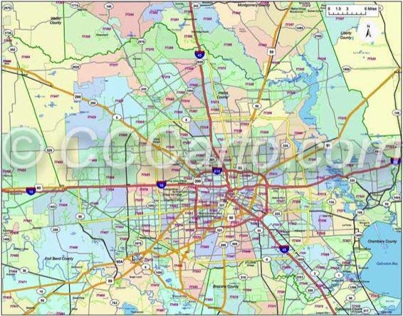 Houston Zip Codes - Harris County TX Zip Code Boundary Map