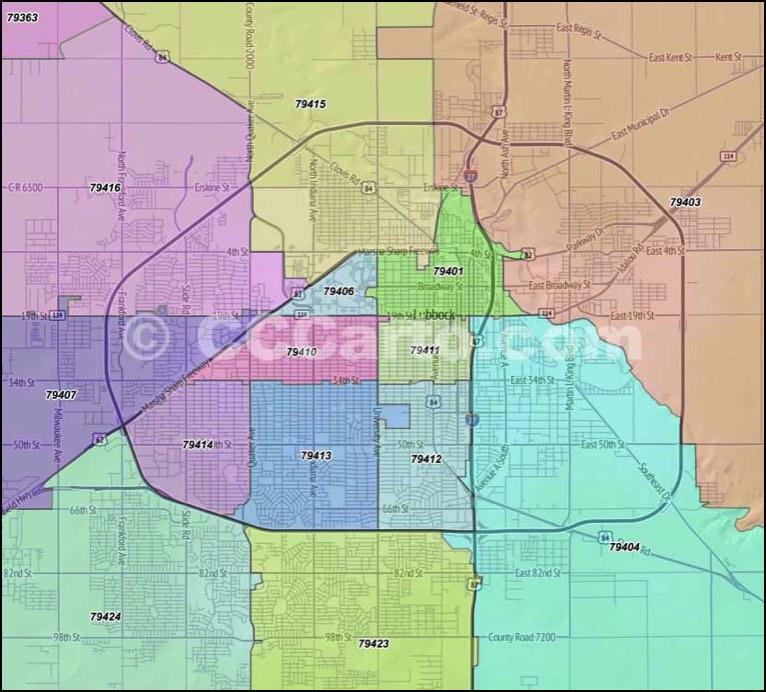 Lubbock, Texas Zip Codes   Lubbock County Zip Code Boundary Map