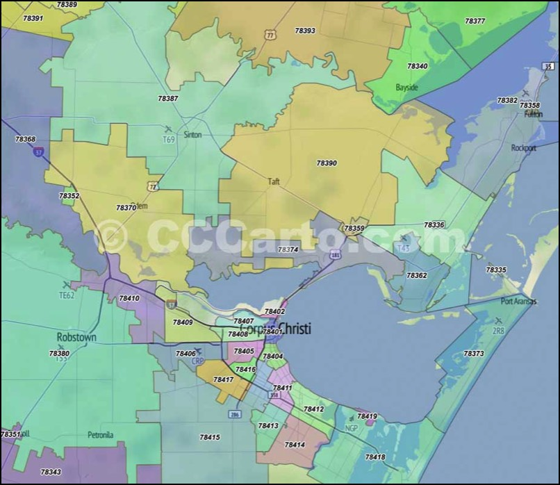 Nueces County, Zip Code Boundary Map