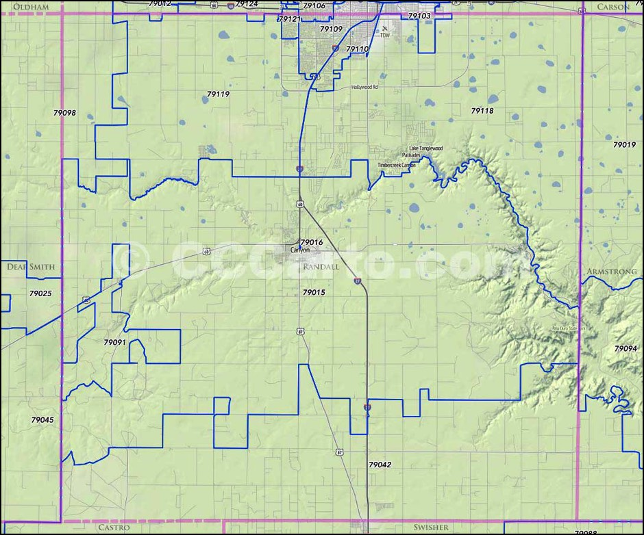 South Amarillo Zip Codes - Randall County, Zip Code Boundary Map