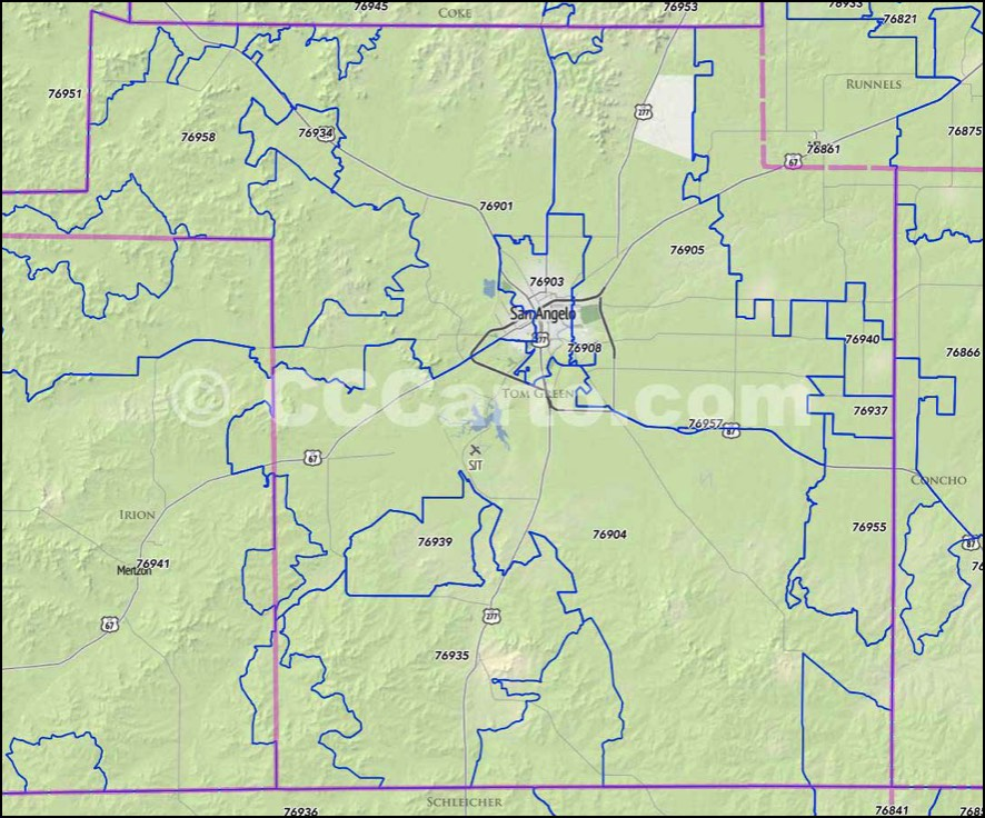 Tom Green County, Zip Code Boundary Map