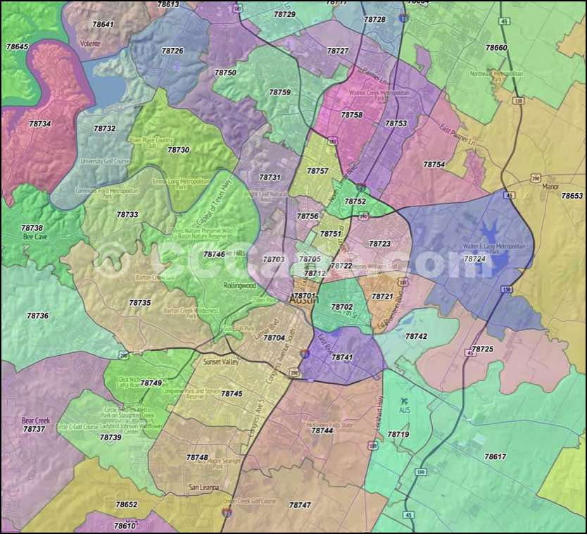 Austin Zip Codes Travis County Zip Code Boundary Map