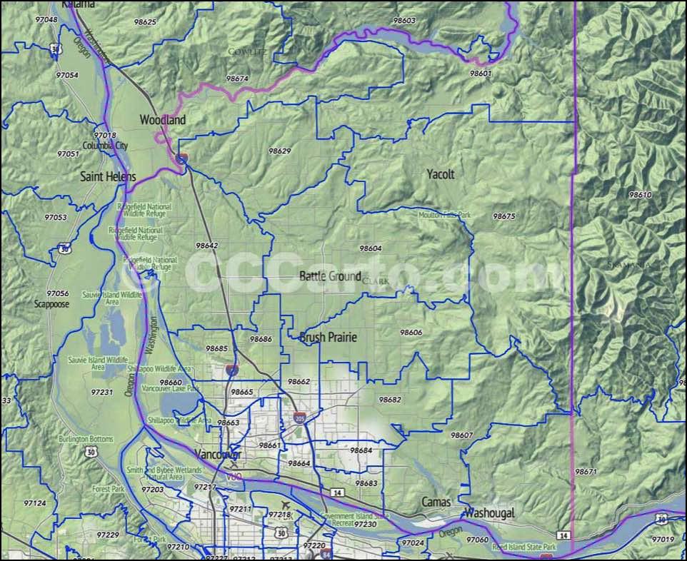 Clark County, WA Zip Codes   Vancouver Zip Code Map