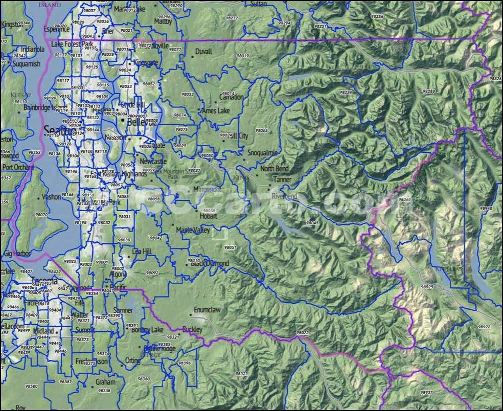 King County WA Zip Codes Seattle Zip Code Map