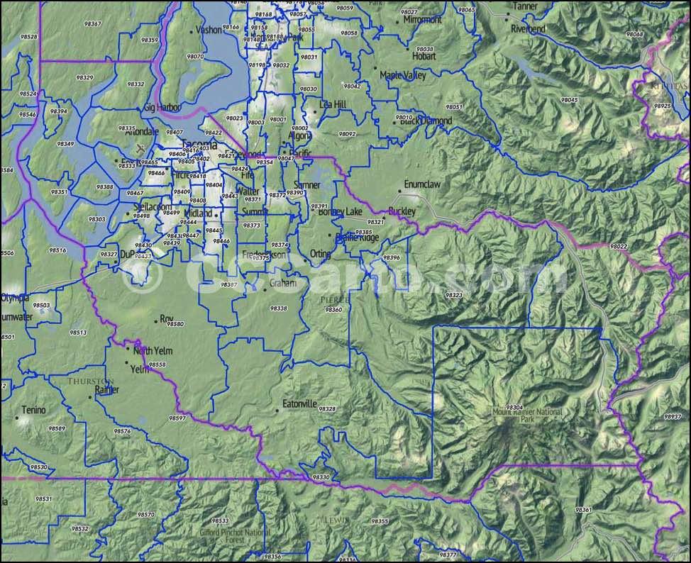 Pierce County Wa Zip Codes Tacoma Zip Code Map