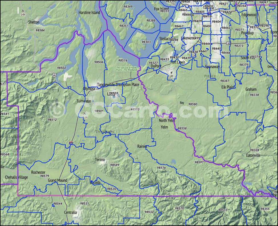 thurston county zip code map Thurston County Wa Zip Codes Olympia Zip Code Map